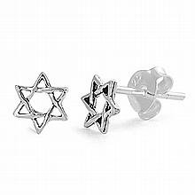 Silver Earrings - Star of David,6mm,,Sterling Silver