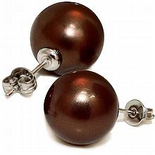 Mother of Pearl Studs - 12mm Chocolate