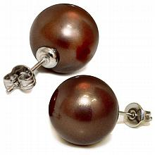 Mother of Pearl Studs - 10mm Chocolate
