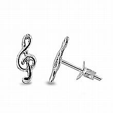 Silver Earrings - Music Note,7mm,,Sterling Silver