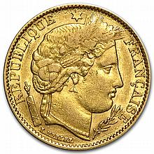 France Gold 10 Francs Ceres Head 1850-1851- EF/AU