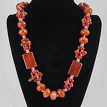 Agate & Carnelian Necklace 135.10 grams