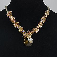 Crystal Brown Agate Necklace 45.50 grams