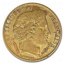 France 1850-1851 10 Franc Gold (Avg Circ) Early Head Ceres