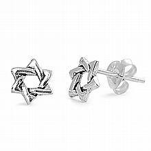 Silver Earrings - Star of David,7mm,,Sterling Silver