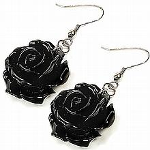 Coral Black Rose Earrings