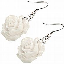 Coral White Rose Earrings