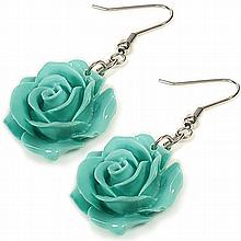 Coral Cyan Rose Earrings