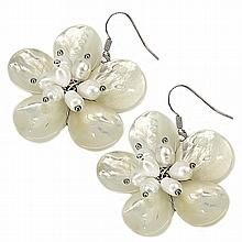Mother of Pearl Shell Earrings with Fresh Water Pearl Buds