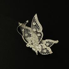 14kt White Gold Diamond 0.38 ctw Brooch Butterfly Design 6.0 gr