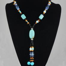 Natural Turquoise, Black & White Crystal Bead Necklace 69.10 grams