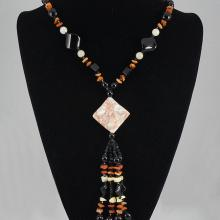 Mixed Color Agate,  shell & Crystal Bead Necklace 81.50 grams