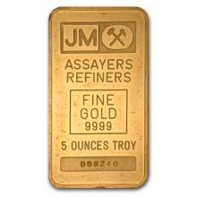5 oz Johnson Matthey Pressed Gold Bar .9999 Fine (Plain Back)