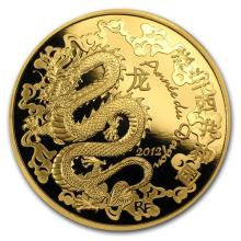 2012 1 oz Gold Proof Year of the Dragon (200 Euro) - Lunar Series