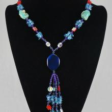 Blue & Light Blue Agate with Crystal Bead Necklace 75.0 grams