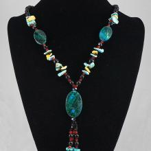 Blue Agate, Turquoise & Crystal Bead Necklace 94.80 grams