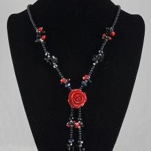 Red & Black Agate Necklace 53.30 grams
