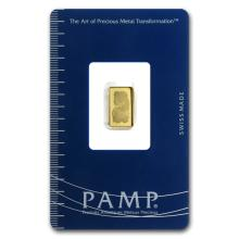 1 gram Pamp Suisse Gold Bar .9999 Fine (In Assay)