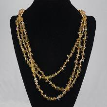 Three Strand  Light Brown Agate & Crystal Bead Necklace 89.80 grams