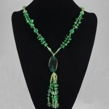 Green Agate & Crystal Necklace  58.10 grams