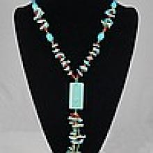 Turquoise , Red Coral & Shell Necklace  84.90 grams