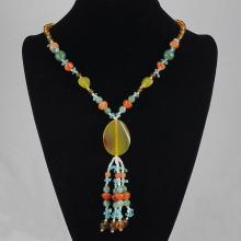 Mixed Color Agate & Crystal Beads Necklace 61.30 grams