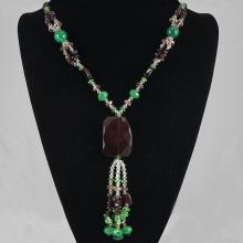 Maroon & Green Agate & Crystal Bead Necklace 95.00 grams