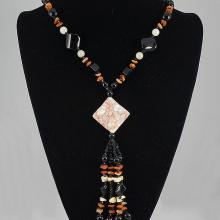 Mixed Colored Agate & Shell Necklace 78.90 grams