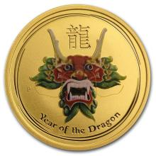 2012 1/2 oz Green Colored Gold Lunar Year of the Dragon (SII)