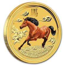2014 1/20 oz Gold Lunar Year of the Horse Colorized (Series II)