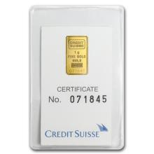 1 gram Statue of Liberty Credit Suisse Gold Bar In Assay