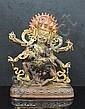 18th / 19th Century. A large gilt-bronze figure of six-armed mahakala