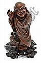19th Century. Wood carving figure in  'liu hai' style