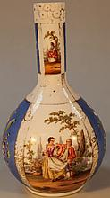 A Dresden bottle vase, of bulbous form decorated
