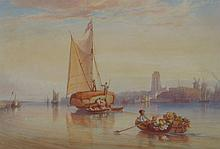 Samuel Austin. River scene with hay barge, waterco