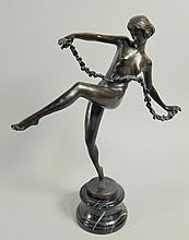 A modern Art Deco style bronze figure, of a naked