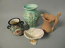 Four items of Art Deco style pottery, to include a