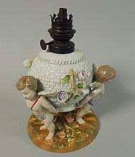 A Sitzendorf type German porcelain oil lamp base,