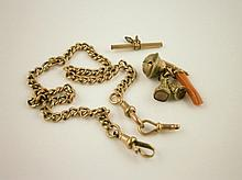 A 9ct gold watch chain, with gilt metal seal fobs