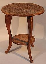 A 20th Century Japanese hardwood table, the circular top heavily carved with dragons, on triple scro