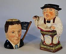 A Royal Doulton double sided character jug, Sir Henry Doulton and Michael Doulton D6921, printed mar