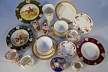 Various early 20th Century and later porcelain and earthenware, to include a pair of Derby vases, ea
