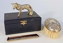 An Elizabeth II silver topped brush and comb set, by Broadway & Co, comprising clothes brush and com
