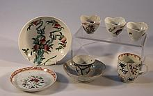 A small collection of 18th Century and later Chinese porcelain, comprising three bowls of shaped flo