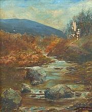 19th Century British School. River landscape, oil on canvas, signed, 59cm x 49cm.