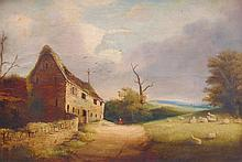 19th Century British School. Rural landscape with cottage, figure and sheep, oil on canvas, 35cm x 5