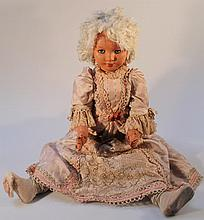 A mid-20th Century FIA Madame Du Pompadour composition doll, with blink eyes, open mouth showing tee