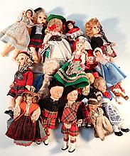 A quantity of early 20th Century and later dolls, to include celluloid examples, child in Scottish d