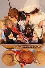 A quantity of early 20th Century and later plastic moulded and other dolls and accessories, to inclu