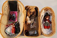 Various 19th Century and later dolls and effects, to include leather boots, three miniature dolls, a